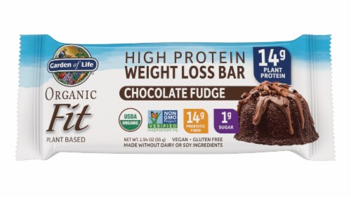 Garden of Life Organic Fit Chocolate Fudge Flavor High Protein Weight Loss Bar Perspective: front