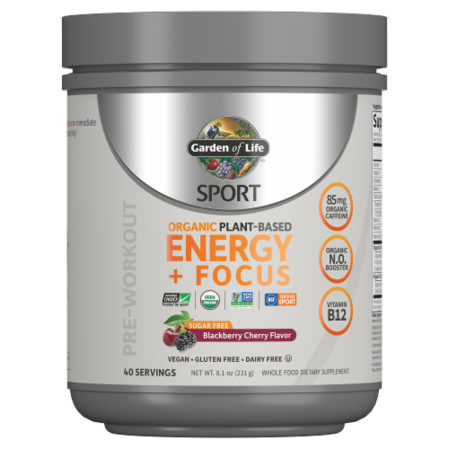 Garden of Life Sport Sugar Free Blackberry Cherry Organic Energy & Focus Perspective: front