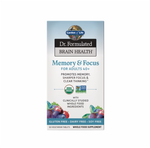 Garden of Life Brain Health Memory & Focus for Adults 40+ Vegetarian Tablets Perspective: front