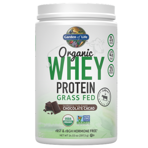 Garden of Life Organic Grassfed Chocolate Cacao Whey Protein Perspective: front