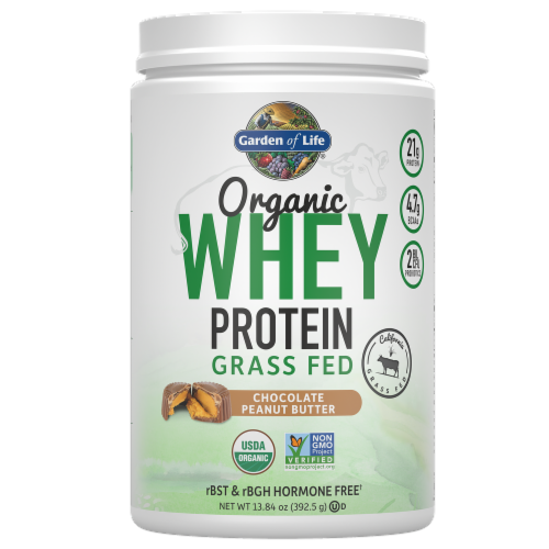Garden of Life Chocolate Peanut Butter Whey Protein Powder Perspective: front