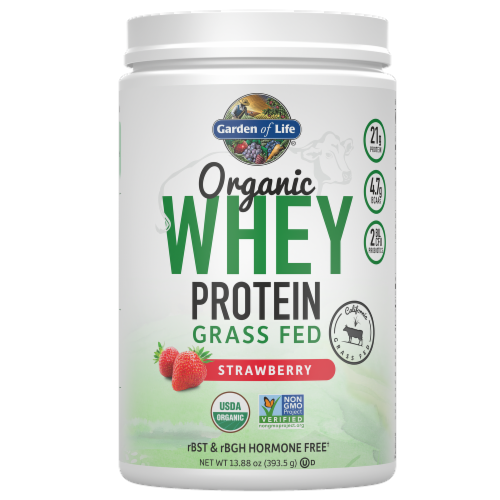 Garden of Life Organic Grassfed Strawberry Whey Protein Perspective: front