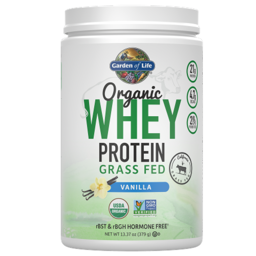 Garden of Life Organic Grassfed Vanilla Whey Protein Perspective: front