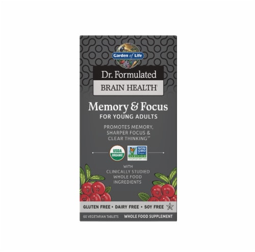 Garden of Life Dr Formulated Memory & Focus for Young Adults Vegetarian Tablets Perspective: front