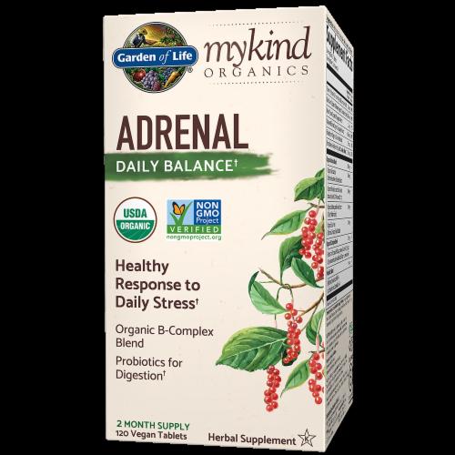 Garden of Life mykind Organics Adrenal Daily Balance Vegan Tablets Perspective: front