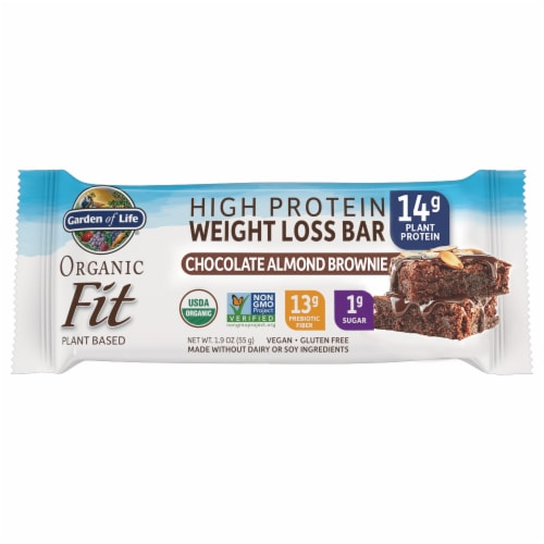 Garden of Life Organic Fit Chocolate Almond Brownie Flavor High Protein Weight Loss Bar Perspective: front