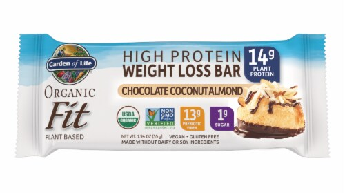 Garden of Life Organic Fit Chocolate Coconut Almond Flavor High Protein Weight Loss Bar Perspective: front