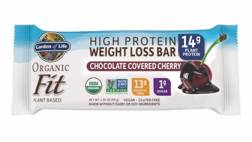 Garden of Life Organic Fit Chocolate Covered Cherry Flavor High Protein Weight Loss Bar Perspective: front