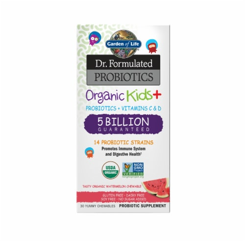 Garden of Life Dr Formulated Probiotics Organic Kids + Watermelon Chewables Perspective: front