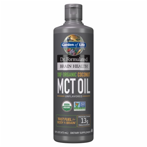 Garden of Life Dr. Formulated Organic Coconut MCT Oil Liquid Perspective: front