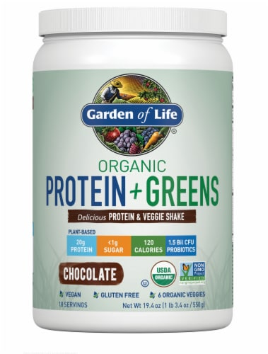 Garden of Life Organic Protein + Greens Chocolate Protein & Veggie Shake Perspective: front