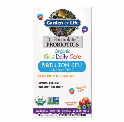 Garden Of Life Organic Kids Daily Care Berry Cherry Flavor Probiotic Chewables Perspective: front