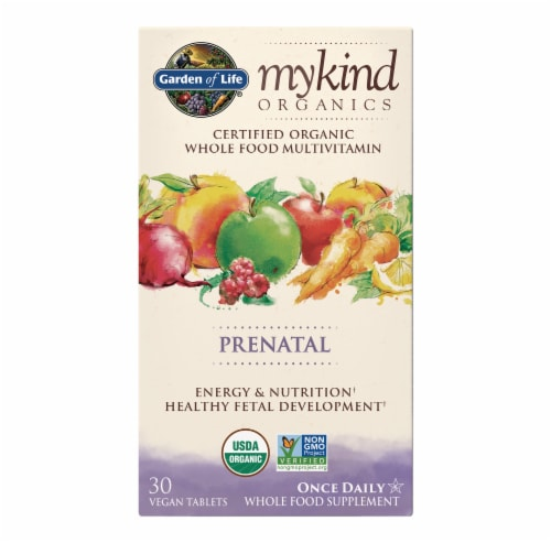 Garden of Life Mykind Organics Prenatal Once Daily Multivitamin Vegan Tablets Perspective: front