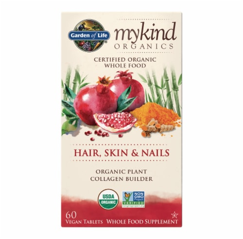 Garden of Life mykind Organics Hair Skin & Nails Plant Collagen Builder Supplement Tablets Perspective: front