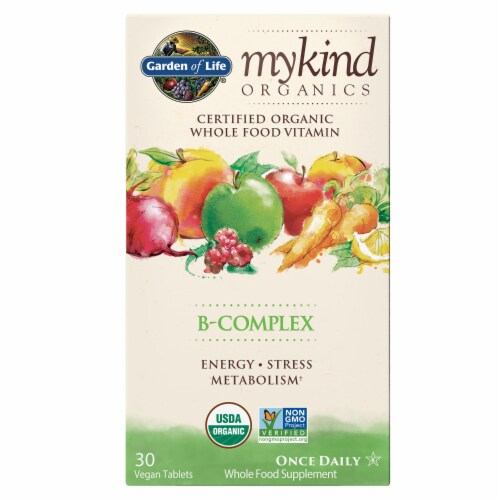 Garden of Life Mykind Organics Whole Vitamin B-Complex Tablets Perspective: front