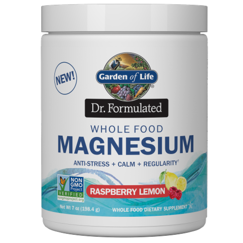 Garden of Life Dr Formulated Magnesium Raspberry Lemon Powder Drink Mix Perspective: front