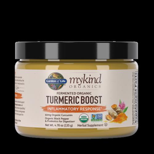 Garden of Life mykind Organics Turmeric Boost Inflammatory Response Herbal Supplement Perspective: front