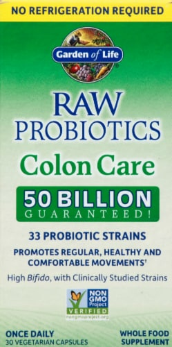 Garden of Life Raw Probiotics Colon Care Vegetarian Capsules Perspective: front