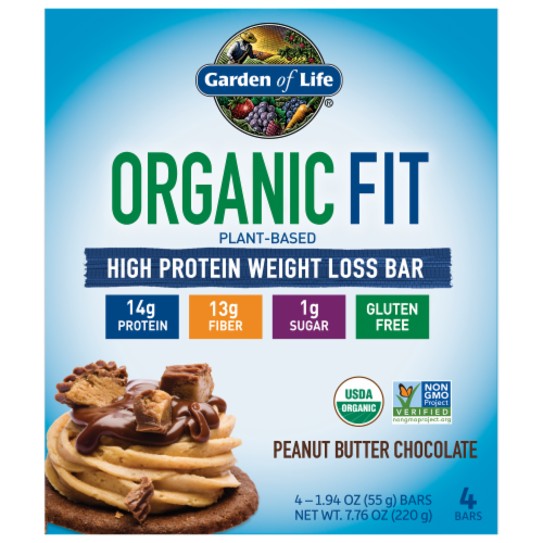 Garden of Life Organic Fit Peanut Butter Chocolate Bars Perspective: front