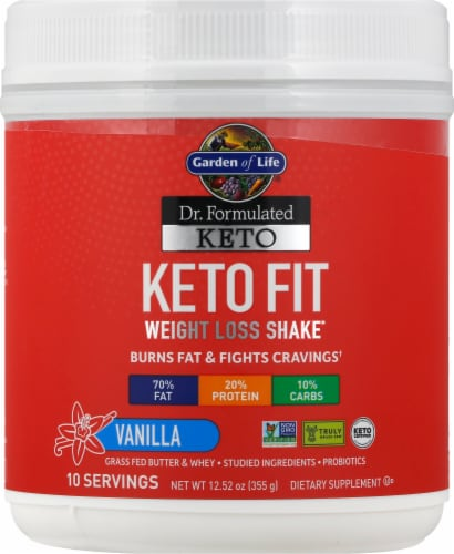 Garden of Life Dr Formulated Vanilla Keto Fit Perspective: front