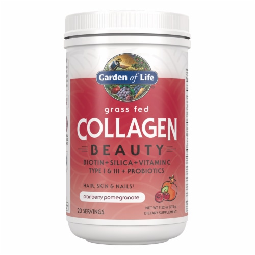 Garden of Life Grass Fed Collagen Beauty Cranberry Pomegranate Hair Skin & Nails Supplements Perspective: front