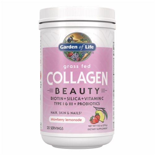 Garden of Life Strawberry Lemonade Grass Fed Collagen Beauty Perspective: front