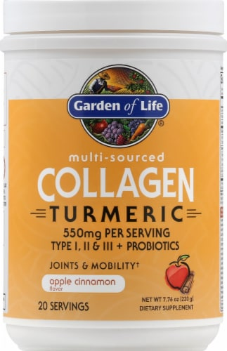 Garden of Life Multi-Sourced Apple Cinnamon Collagen Turmeric Perspective: front