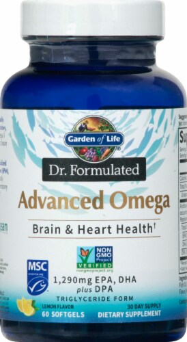 Garden of Life Advanced Omega Brain & Heart Health Softgels 1290mg Perspective: front
