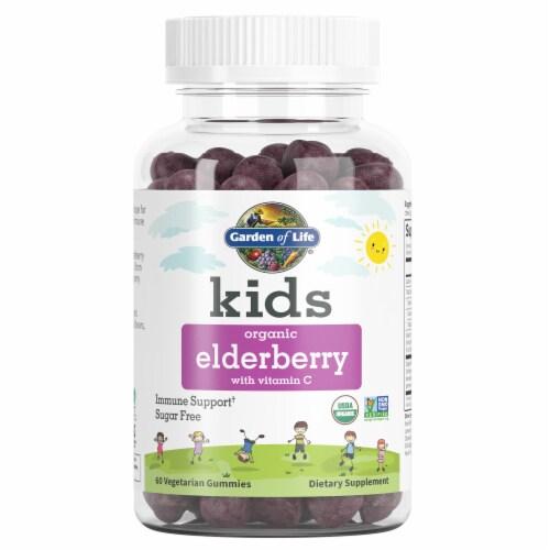 Garden of Life Kids Organic Elderberry Vegetarian Gummies Perspective: front