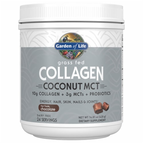 Garden of Life Chocolate Grass Fed Collagen Coconut MCT Dietary Supplement Perspective: front