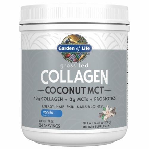Garden of Life Vanilla Flavor Grass Fed Collagen Coconut MCT Dietary Supplement Perspective: front