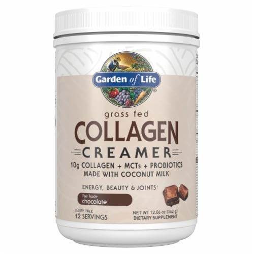 Garden of Life Chocolate Grass Fed Collagen + MCTs + Probiotics Creamer Dietary Supplement Perspective: front