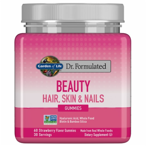 Garden of Life Dr. Formulated Beauty Hair Skin & Nails Strawberry Flavor Gummies Perspective: front