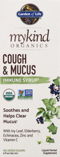 Garden of Life Mykind Organics Couch & Mucus Immune Syrup Perspective: front