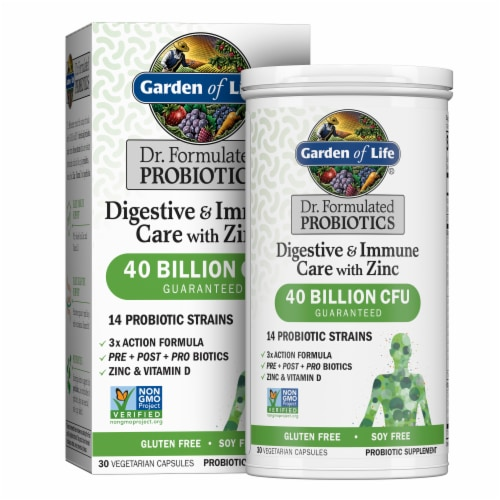Garden of Life Digestive & Immune Care + Zinc Probiotic Supplement Vegetarian Capsules Perspective: front
