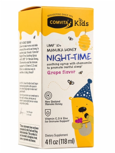 Comvita Kids Grape Flavor Nighttime Dietary Supplement Soothing Syrup Perspective: front