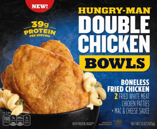 Hungry-Man Double Boneless Fried Chicken Bowls With White Cheddar Mac & Cheese Frozen Meal Perspective: front