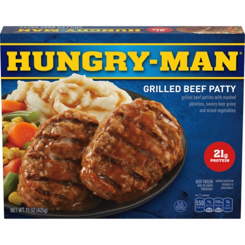 Hungry-Man Grilled Beef Patty Frozen Meal Perspective: front