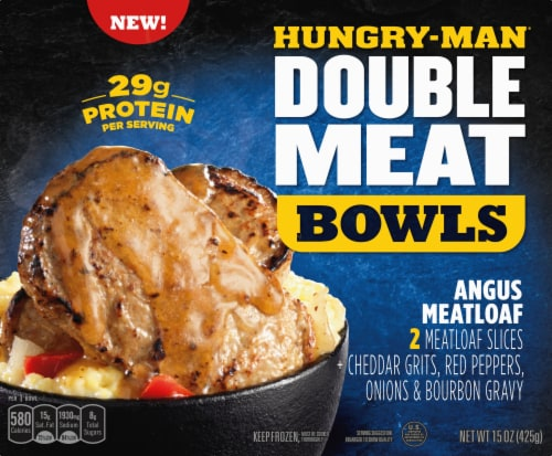 Hungry-Man Double Meat Bowls Angus Meatloaf With Cheddar Cheese Grits Frozen Meal Perspective: front