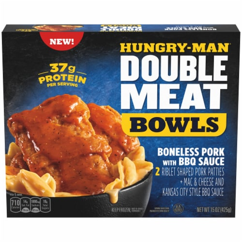 Hungry-Man Double Meat Boneless Pork with BBQ Sauce and Mac & Cheese Frozen Protein Bowl Perspective: front