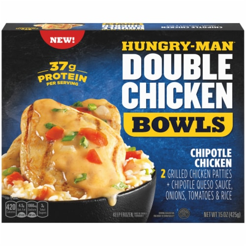 Hungry-Man Double Chipotle Chicken and Rice Frozen Protein Bowl Perspective: front
