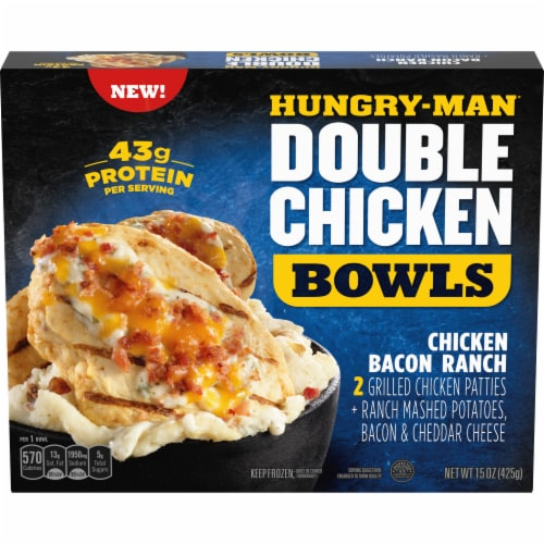 Hungry-Man Double Chicken Bacon Ranch Bowls With Mashed Potatoes Frozen Meal Perspective: front