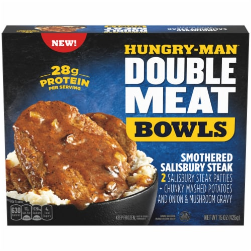 Hungry-Man Double Meat Smothered Salisbury Steak Mashed Potatoes and Gravy Frozen Protein Bowl Perspective: front