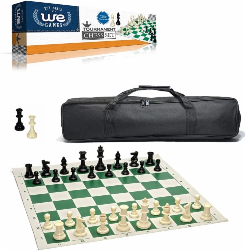 WE Games Complete Tournament Chess Set, Plastic Pieces, Green Board, Bag Perspective: front