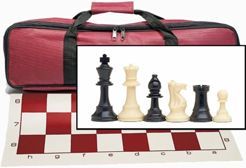 WE Games Complete Tournament Chess Set, Plastic Pieces, Burgundy Board, Bag Perspective: front