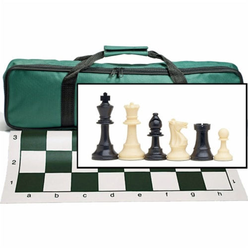 WE Games Complete Tournament Chess Set, Plastic Pieces,  Green Board, Travel Bag Perspective: front