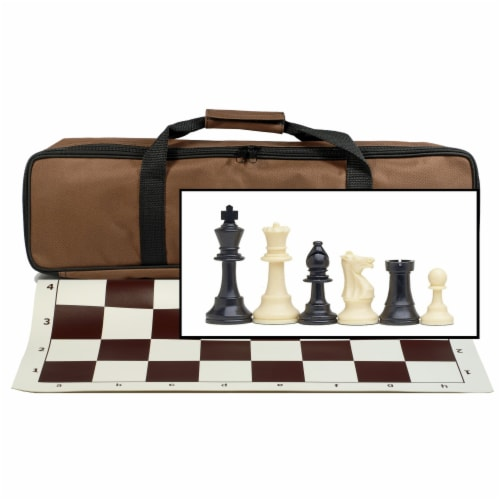 WE Games Complete Tournament Chess Set, Plastic Pieces, Brown Board, Travel Bag Perspective: front