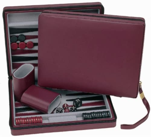WE Games Magnetic Backgammon Set, Leatherette Case, Carrying Strap - Travel Size Perspective: front