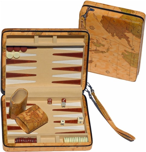 WE Games Tan Map Design Magnetic Backgammon Set, Leatherette, Travel Size Perspective: front