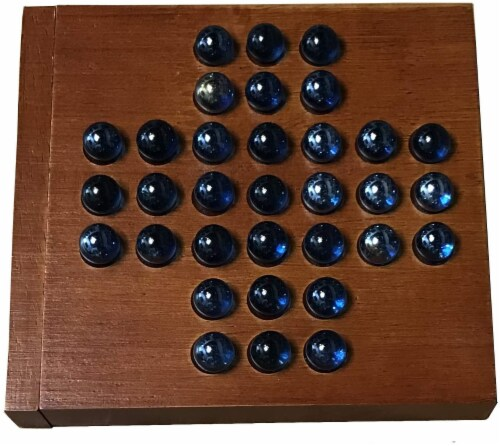 WE Games Marble Solitaire Wooden Travel Game - 5 inches Perspective: front